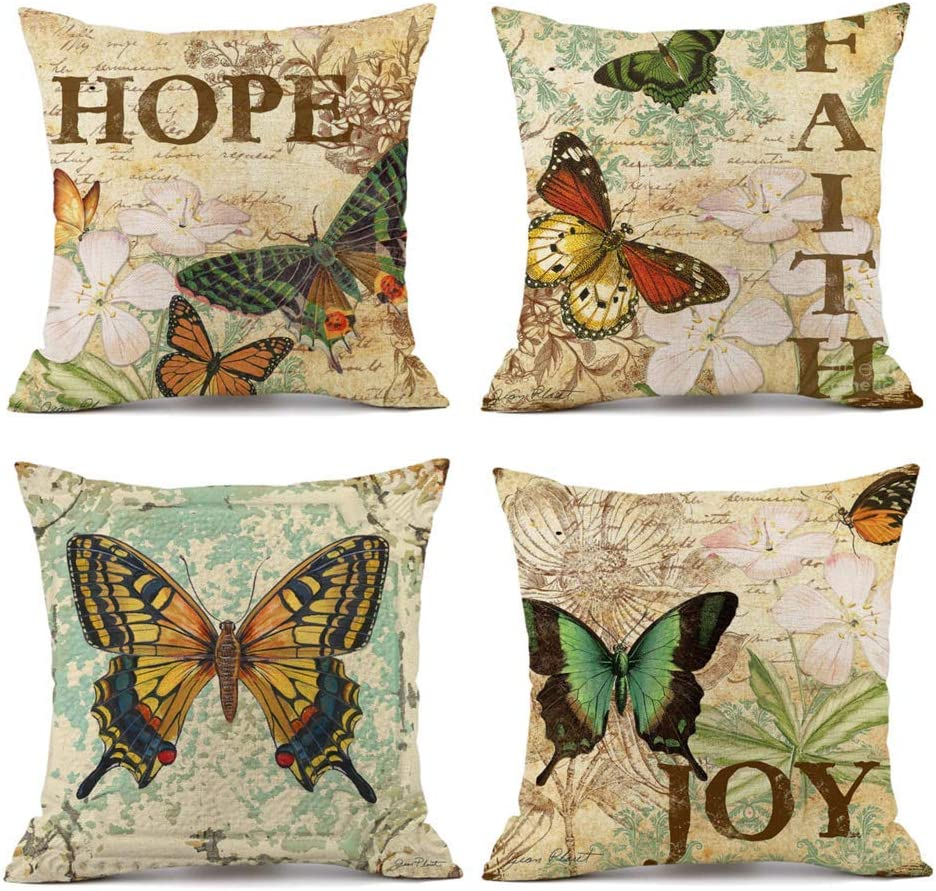 Butterfly Cushion Cover Pattern Decorative Pillow Case Linen Square Throw 18x18/""