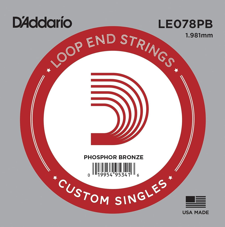 D'Addario LE078PB, cuerda individual de bronce fosforado con terminación de lazo.078