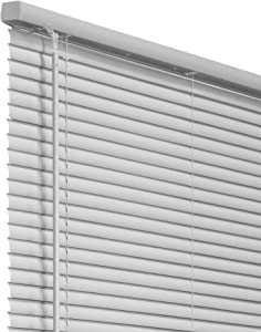 "CHICOLOGY VNBGG3664 Cordless 1-Inch Vinyl Mini Blinds, Horizontal Venetian Slat Light Filtering, Darkening Perfect for Kitchen/Bedroom/Living Room/Office and More, 36""W X 64""H, Gray (Commercial Grade)"