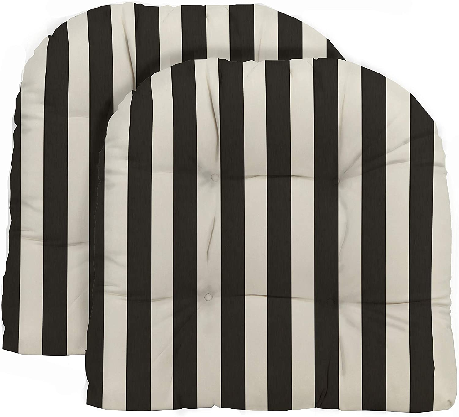 RSH Décor Decorative Indoor Outdoor Tufted Adirondack Wicker Patio U-Shape Chair Seat Cushion Chair Pad Replacement Choose Size & Color (2 - Wicker Chair Cushion, Black & White Stripe)