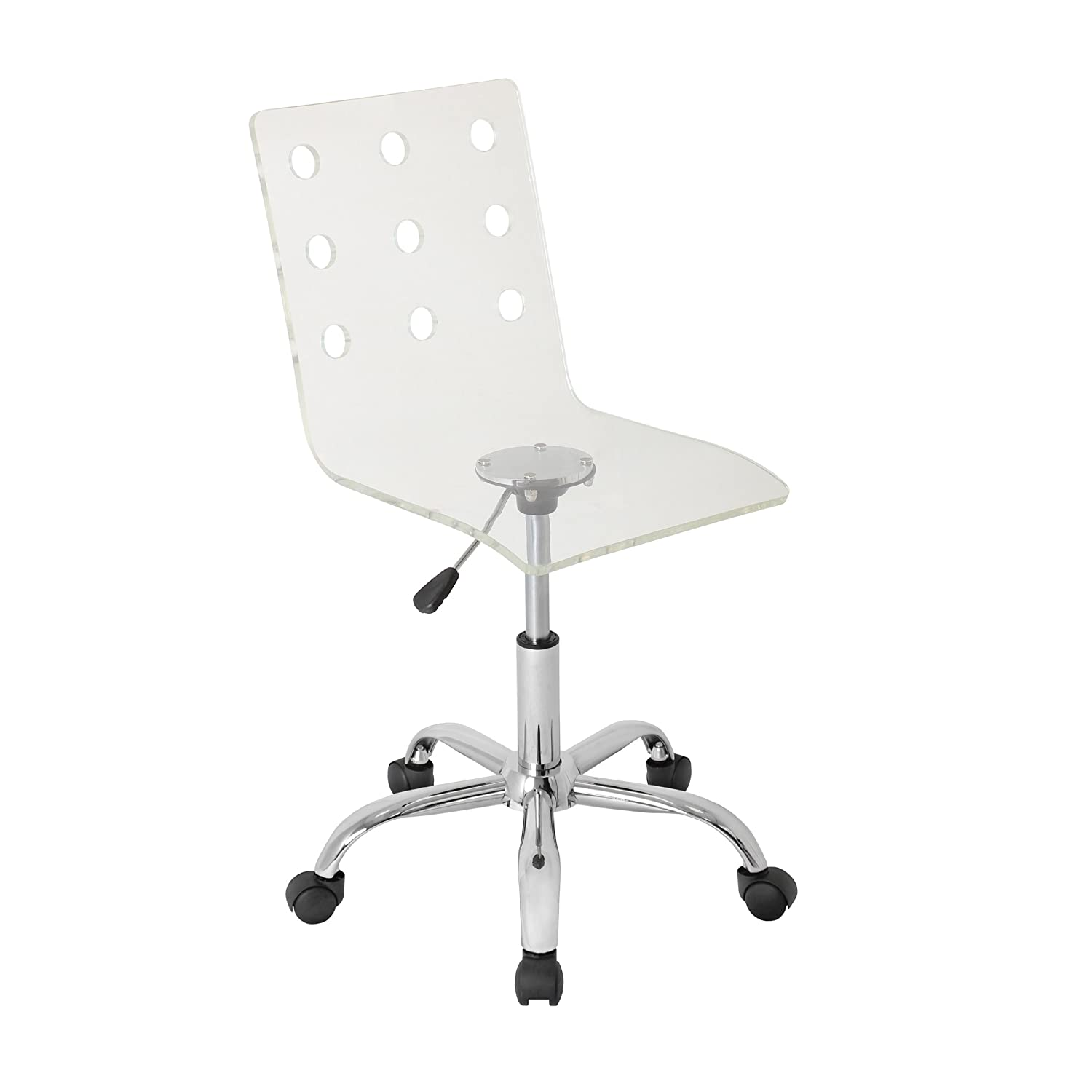 Amazon.com: WOYBR OFC-TW CL Acrylic, Chrome Swiss Office Chair: Kitchen &  Dining