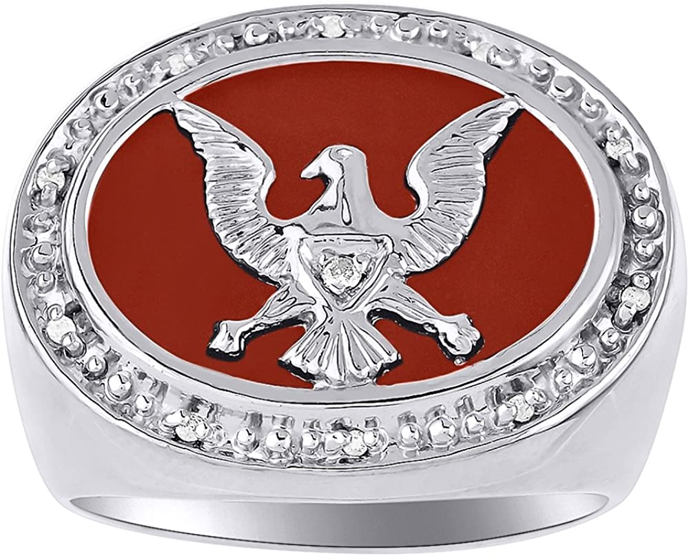 Rylos Diamond /& Red Onyx Ring Sterling Silver or Yellow Gold Plated Patriotic USA Eagle
