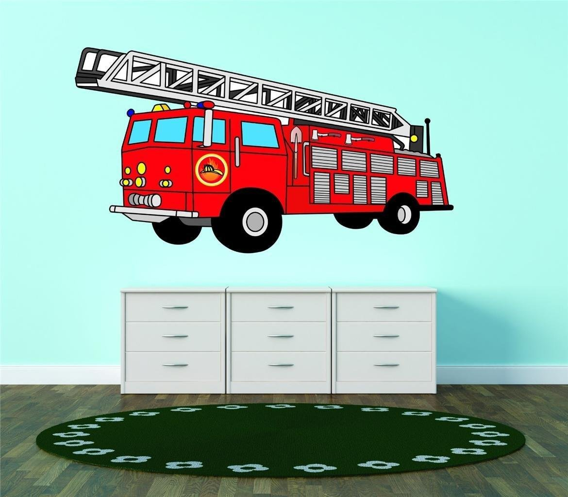 Design with Vinyl 2015 BS 268 Red Firetruck Firefighting Wall Decal 16 x 32 As Seen