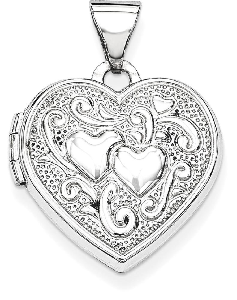 ICE CARATS 14k White Gold Heart Photo Pendant Charm Locket Chain Necklace That Holds Pictures Fine Jewelry Gift Set For Women Heart