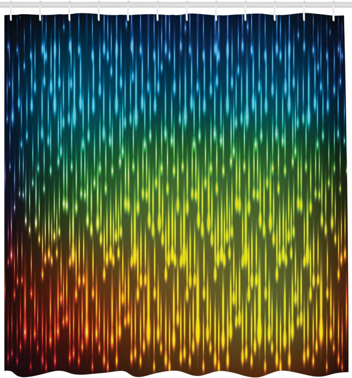 mit 12 Ringe Set Wasserdicht Stielvoll Modern Farbfest und Schimmel Resistent Musik Graffiti Hip Hop ABAKUHAUS Retro Duschvorhang Mehrfarbig 175x180 cm