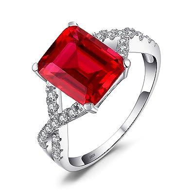 8ab3f323488b Jewelrypalace Anillo elegante adornado Rubí creado cuadrado en plata de ley  925  Amazon.es  Joyería