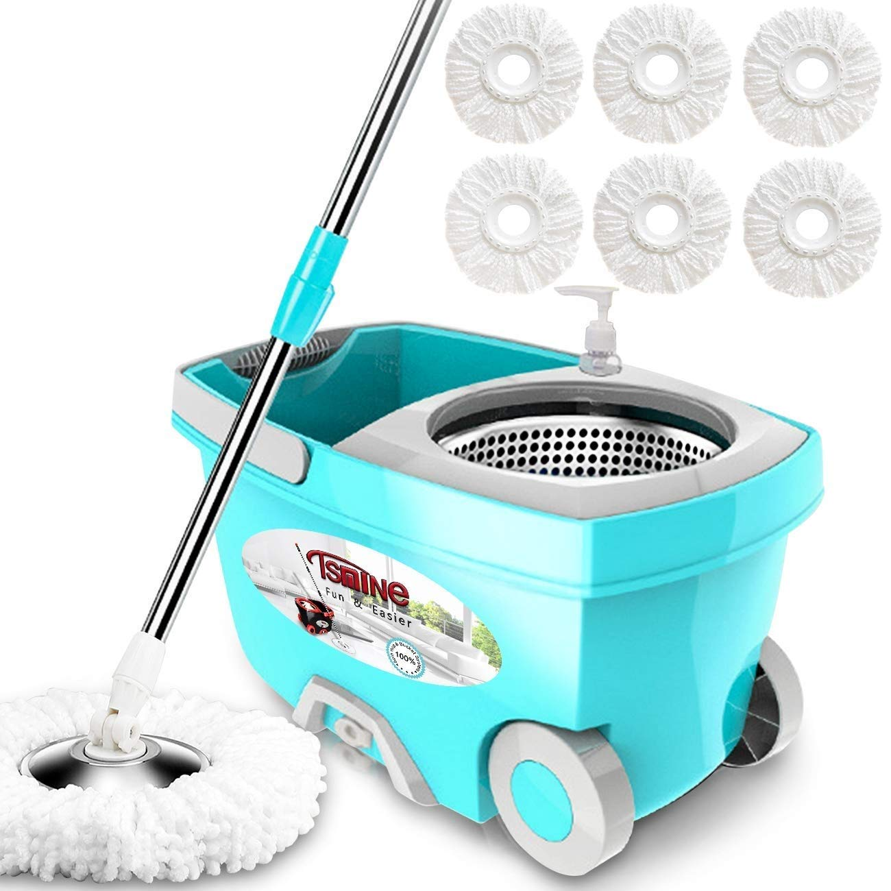 Tsmine Spin Mop Bucket System Deluxe Stainless Steel Spinning Mop with 61'' Silent Extended Handle, 2X Wheels, 6 Microfiber Replacement Head, Drain Outlet, Detergent Dispenser, for Home Cleaning
