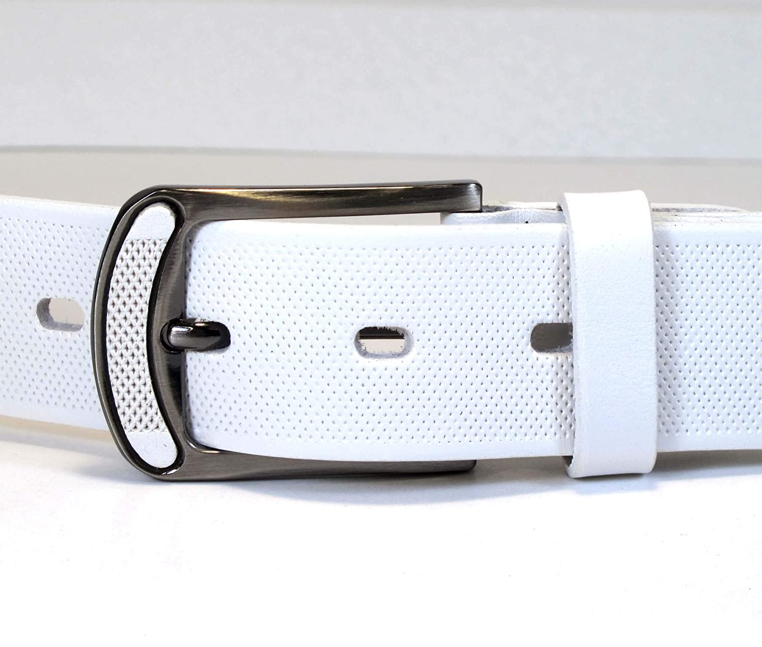 Womens Real Genuine Leather White Belt 1.25 Wide S-XL Thick Long Casual Jeans CW8