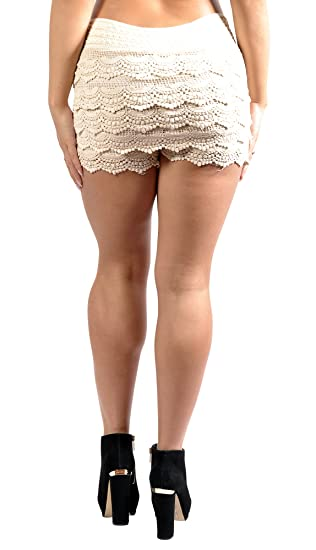 Badassleggings Womens Multi Layered Crochet Shorts Medium White At
