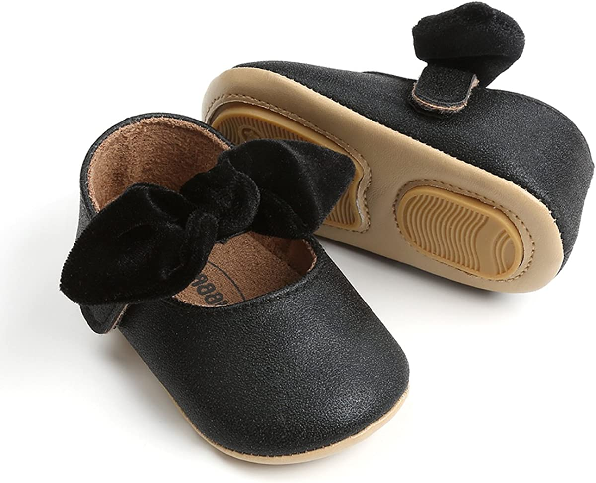 Baby Girls Mary Jane Flats Anti-Slip Rubber Sole Bow Toddler Princess Dress Shoes