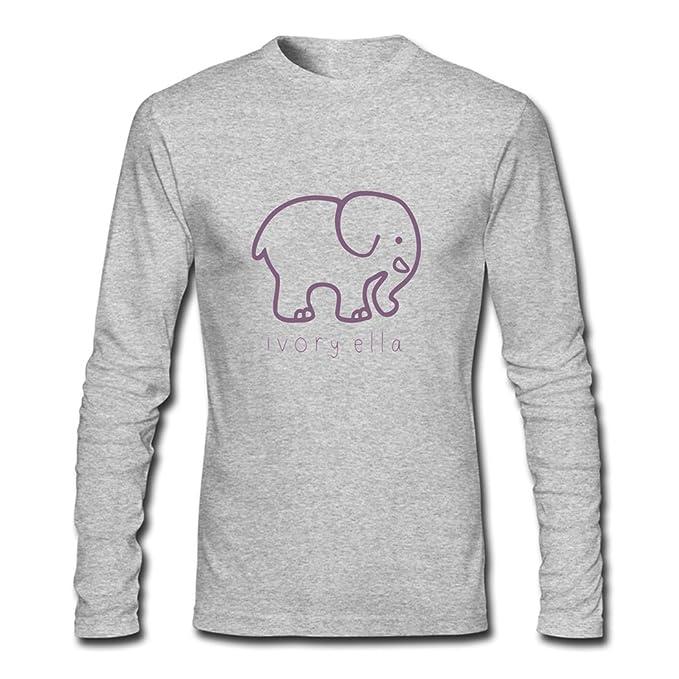 74efe6bb8 Ivory Ella Elephants Logo for Men Printed Long Sleeve Cotton T-shirt   Amazon.ca  Clothing   Accessories