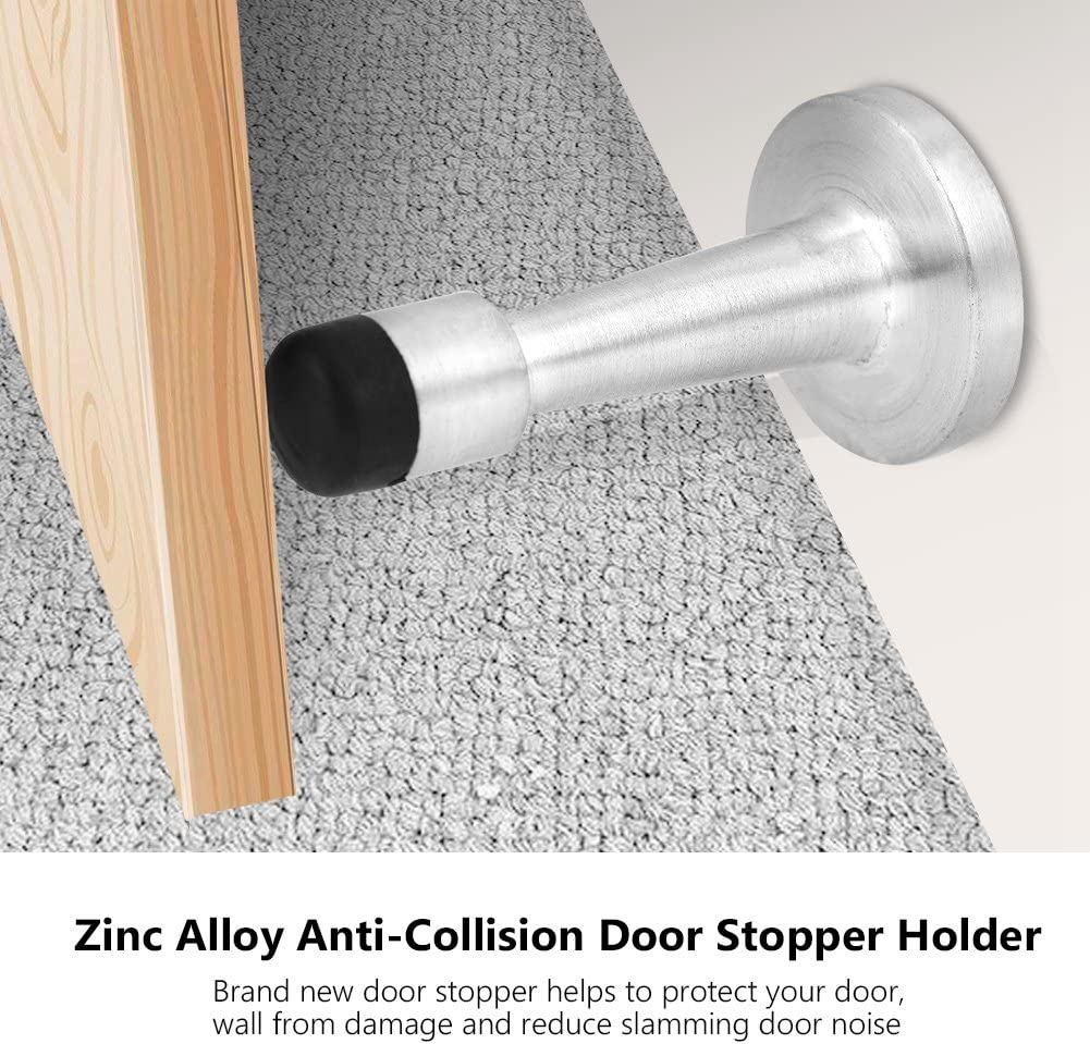 Brushed Hztyyier Zinc Alloy Rubber Anti-Collision Door Stopper Holder Wall Protector Bumpers with Screws for Home Hotel Office
