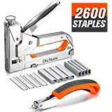 Dicfeos Staple Gun with Remover, Heavy Duty 3 in 1 Manual Nail Gun with 2600 Staples, Staple Gun for Upholstery, DIY Repair, Carpentry, Decoration, Furniture