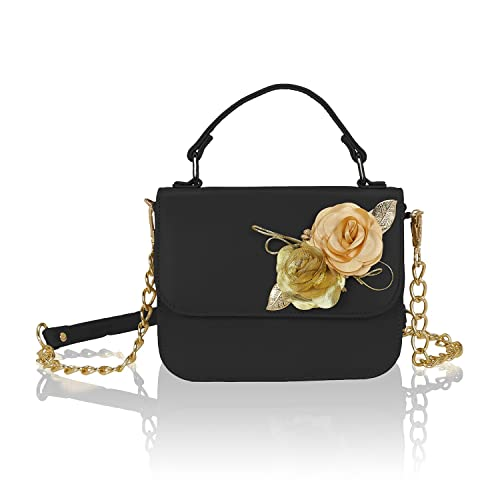 Kleio Girl s PU Flower Embellished Black Satchel Bag  Amazon.in ...