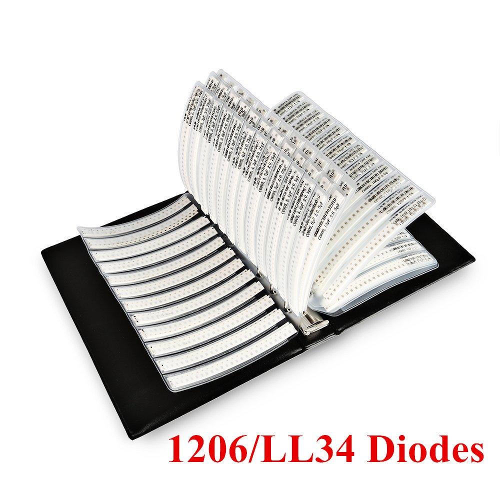 onesky-uk [1206/LL34] SMD Zener-Diode 0, 5 W 2, 4 30 V Probe Buch 26 Wert X 25 PCS sortiert Ordner [650 PCS] 1206 Zener Diode