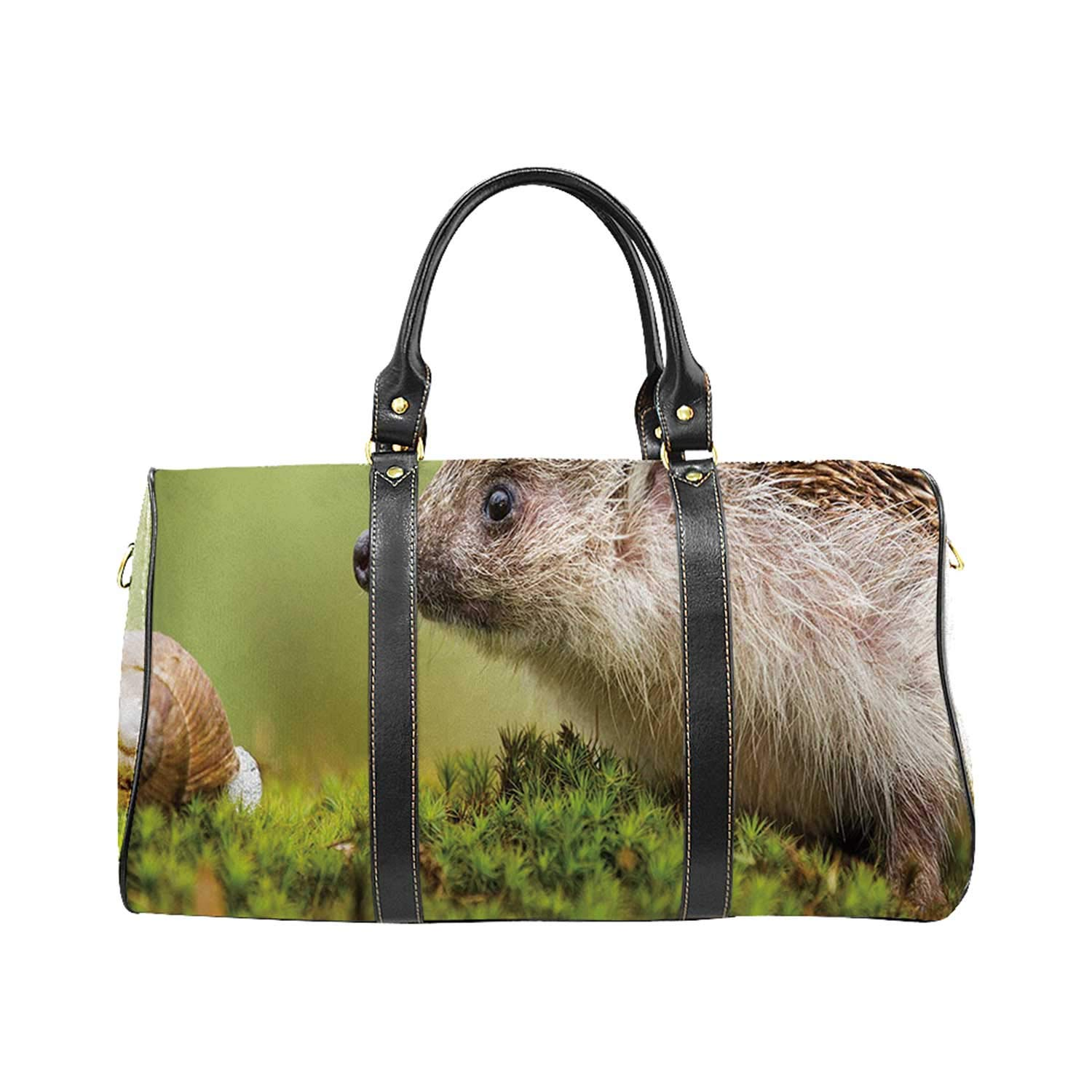 Hedgehog Versatility Travel Bag,Animal Photography in Eastern Europe Slug with Hedgehog Scenes from Nature Print Decorative for Trips by YOLIYANA