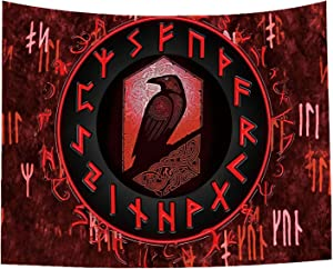 Psychedelic Red Tapestry for Bedroom Aesthetic Gothic Room Decor, Small Tapestry Wall Hanging 37*28 Inches, Norse Viking Tapestry Raven Meditation Runes Wall Art