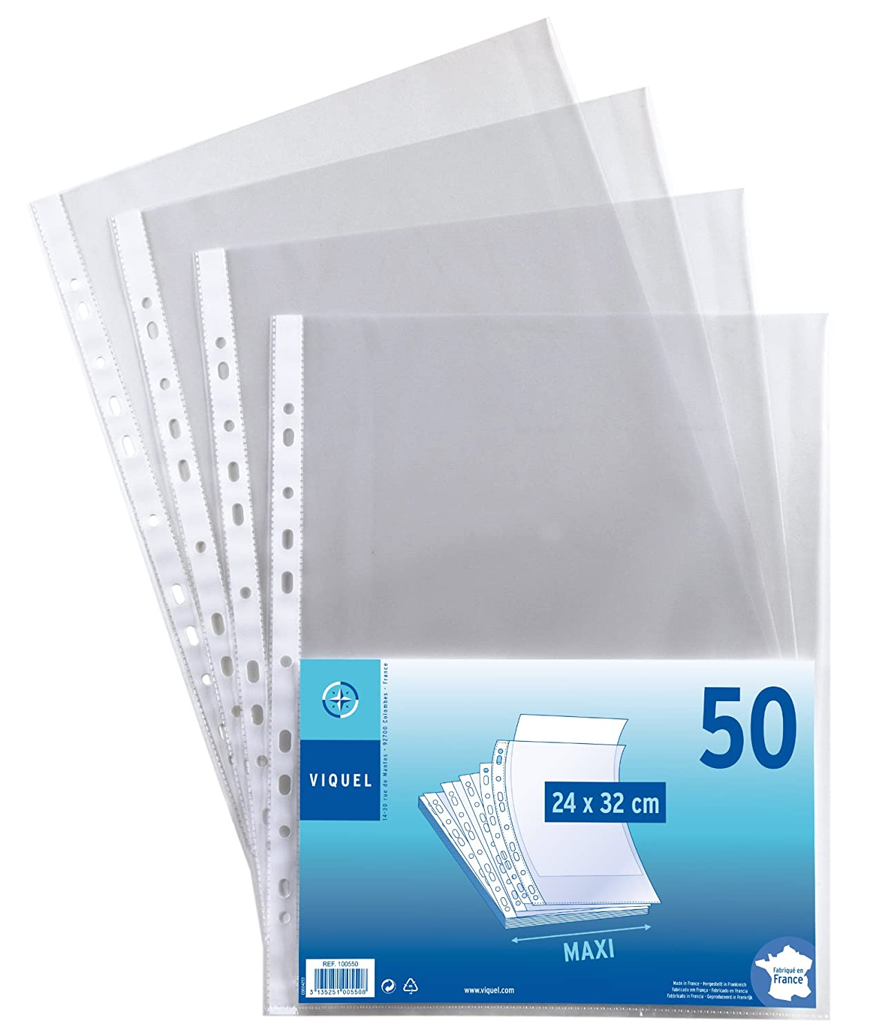 Viquel  –   Set di 50  buste perforate in polipropilene, 24  x 32 24 x 32 100550-06