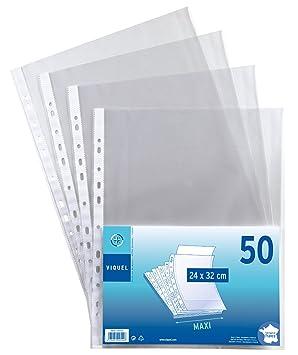 Viquel - Juego de 50 fundas perforadas (polipropileno, 24 x 32: Amazon.es: Oficina y papelería