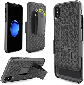 iPhone X Case, iPhone Xs Case, Moona Shell Holster Combo Case for Apple iPhone X / XS with Kickstand & Belt Clip '2 Year Warranty' - iPhone 10 / 11 Belt Clip Case Thin Holster