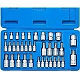 Neiko 10070A - Juego de llaves Torx y llaves de estrella E-Torx | Juego de 35 piezas, acero S2 y Cr-V, 1/4 pulgadas, 3/8…