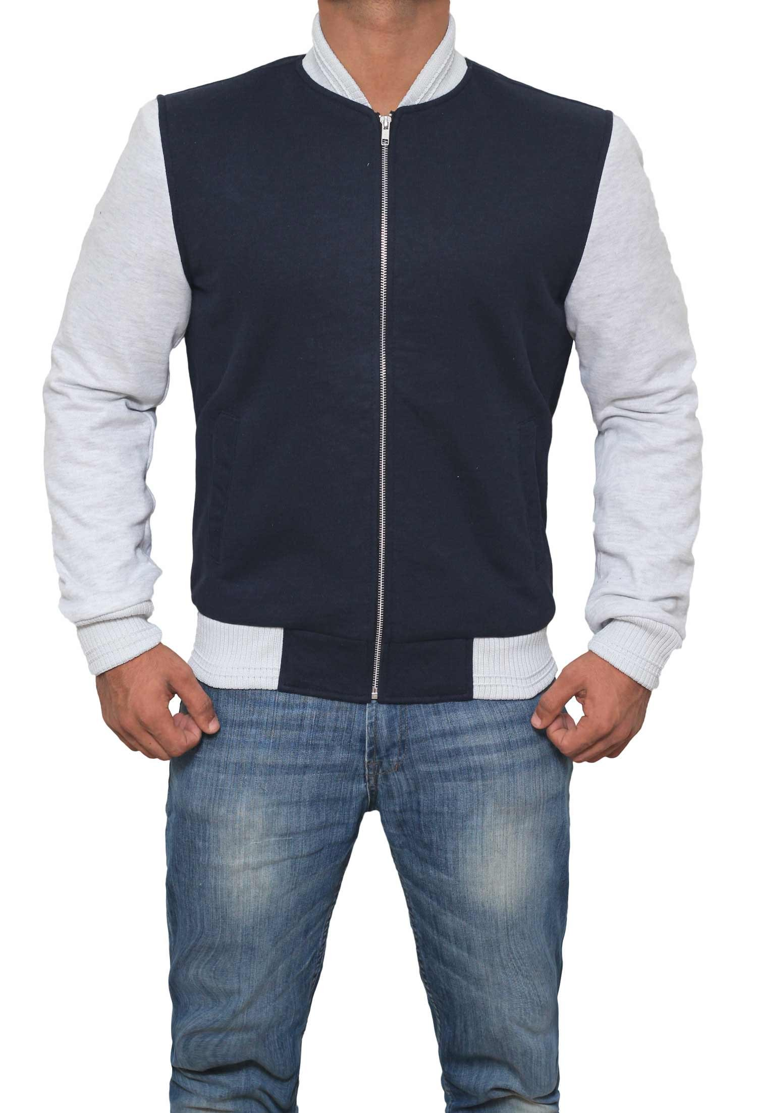 Mens Baby Driver Angel Elgort Blue Letterman Jacket | S