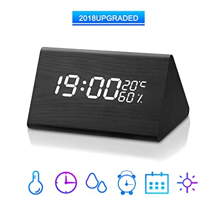 Wooden Alarm Clock,ZIHUAN Digital Alarm Clock with Dual Time (12/24)