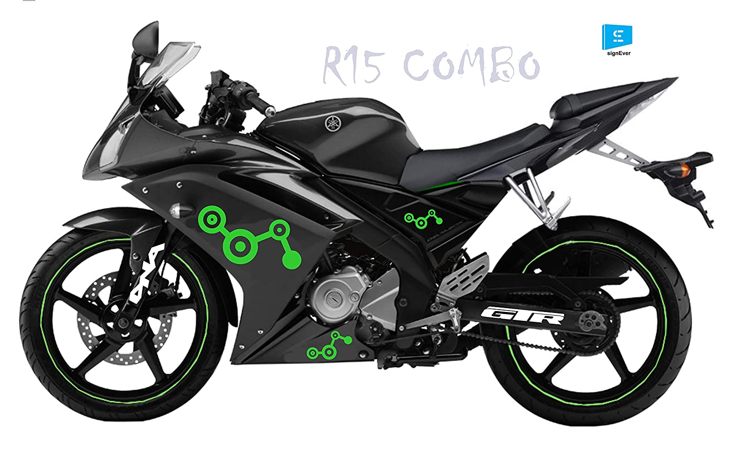 SIGN EVER Bike Stickers Yamaha R15 Sides and Parts Combo