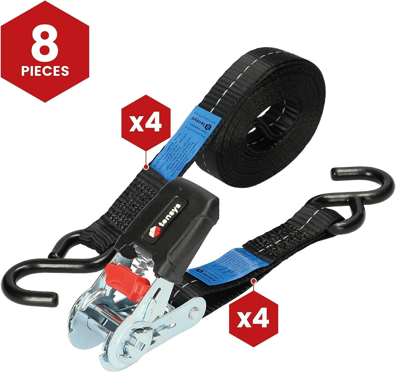 TENSYS /® /· 25mm /· 800daN /· SGM /· Ratchet Lashing System /· S Hooks /· Pack of 4