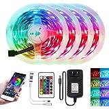 Fita de LED Xunata de 20 m com Bluetooth inteligente, sincronização com as luzes que mudam de cor 5050 RGB à prova d'água com