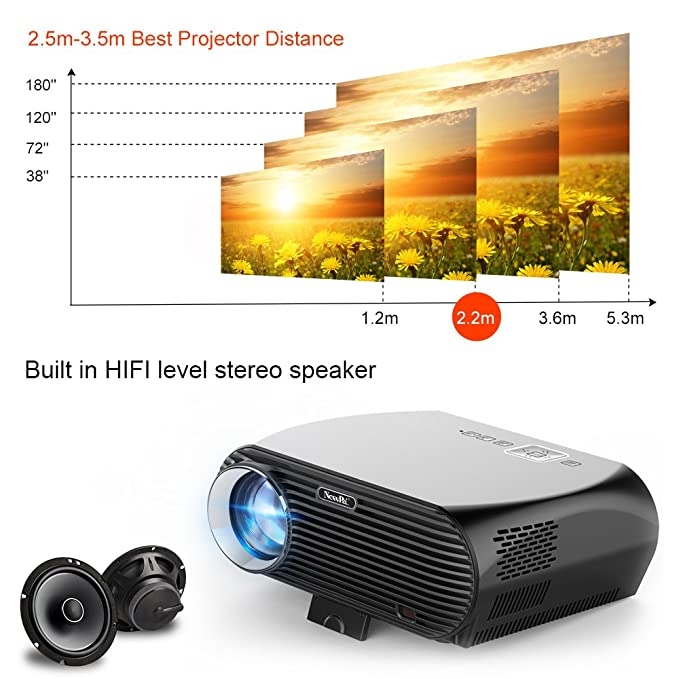 Newpal NP 100 Android Proyector 3500 Lumen LED Proyector Home ...