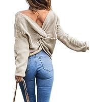 Emma Mujer Jersey de Punto Primavera Suéter de Cuello V de Espalda de Las Mujeres Knit del Batwing Oversize Ancho Tejer…