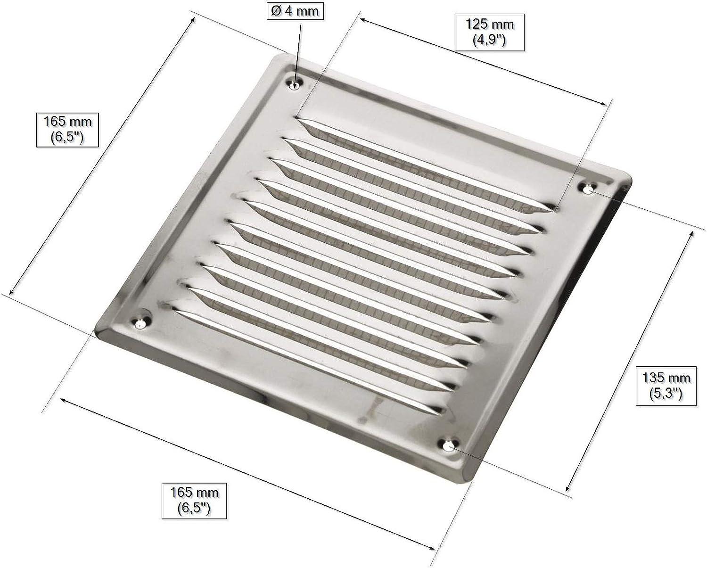 brun KOTARBAU Grille da/ération 165 x 165 mm avec vis grille de protection contre la corrosion ventilation laqu/ée