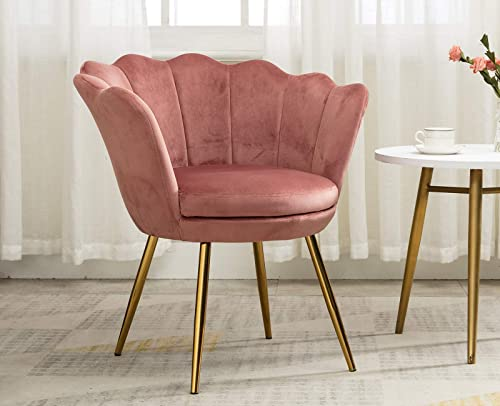 Pink Velvet Accent Chair Gold Leg Vanity Chair
