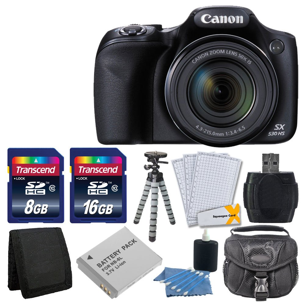 Canon PowerShot SX530 HS Digital Camera with 50x Optical Image Stabilized Zoom with 3-Inch LCD HD 1080p Video (Black)+ Extra Battery + 24GB Class 10 Card Complete Deluxe Accessory Bundle And Much More by Canon