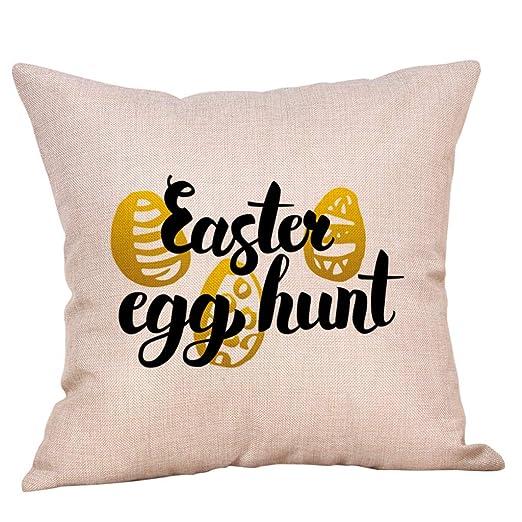 sanfashion Funda de cojín Cuadrado algodón de Pascua Conejo ...