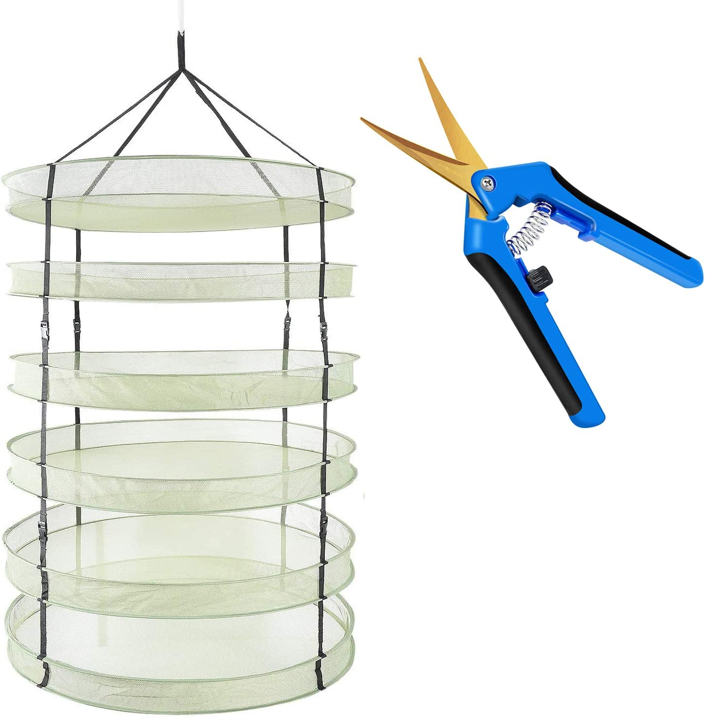 "iPower 3ft 6 Layers Clip on Hanging Collapsible Mesh Hydroponics Herb Drying Rack Net with 6.5"" Gardening Hand Pruner with Titanium Coated, 6layers+Blue, Curved Precision Blades,Green&Blue"
