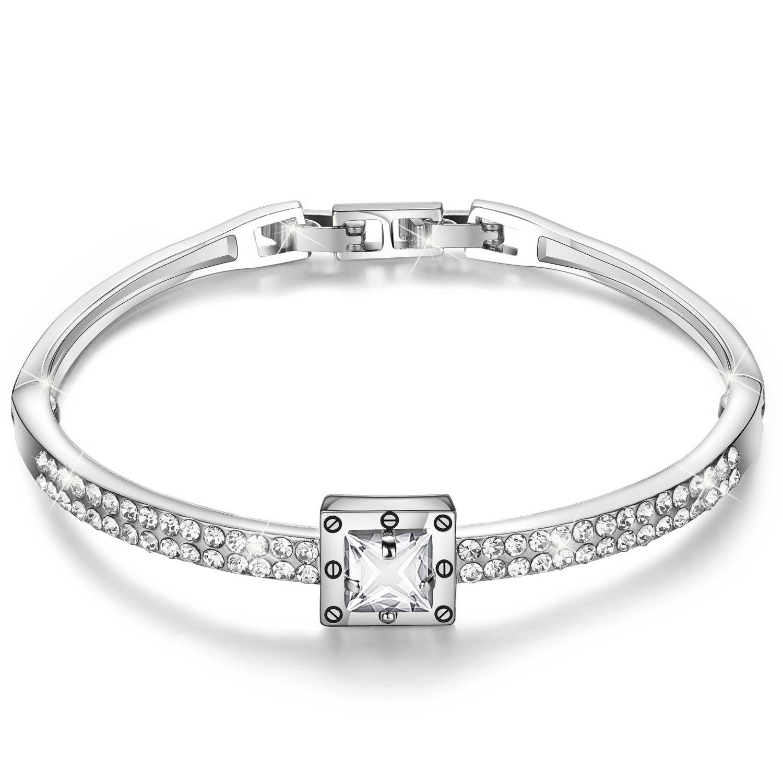 Menton Ezil ''Snow White 925 Silver Made Swarovski Crystals Bangle Bracelets CZ Diamonds Women Daily Jewelry Cubic Zirconia Diamonds