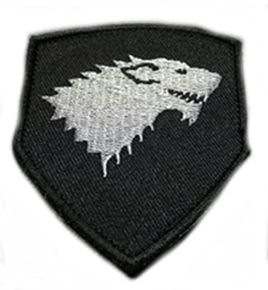 "House stark direwolf wolf patch 5"" embroidered iron-on game."