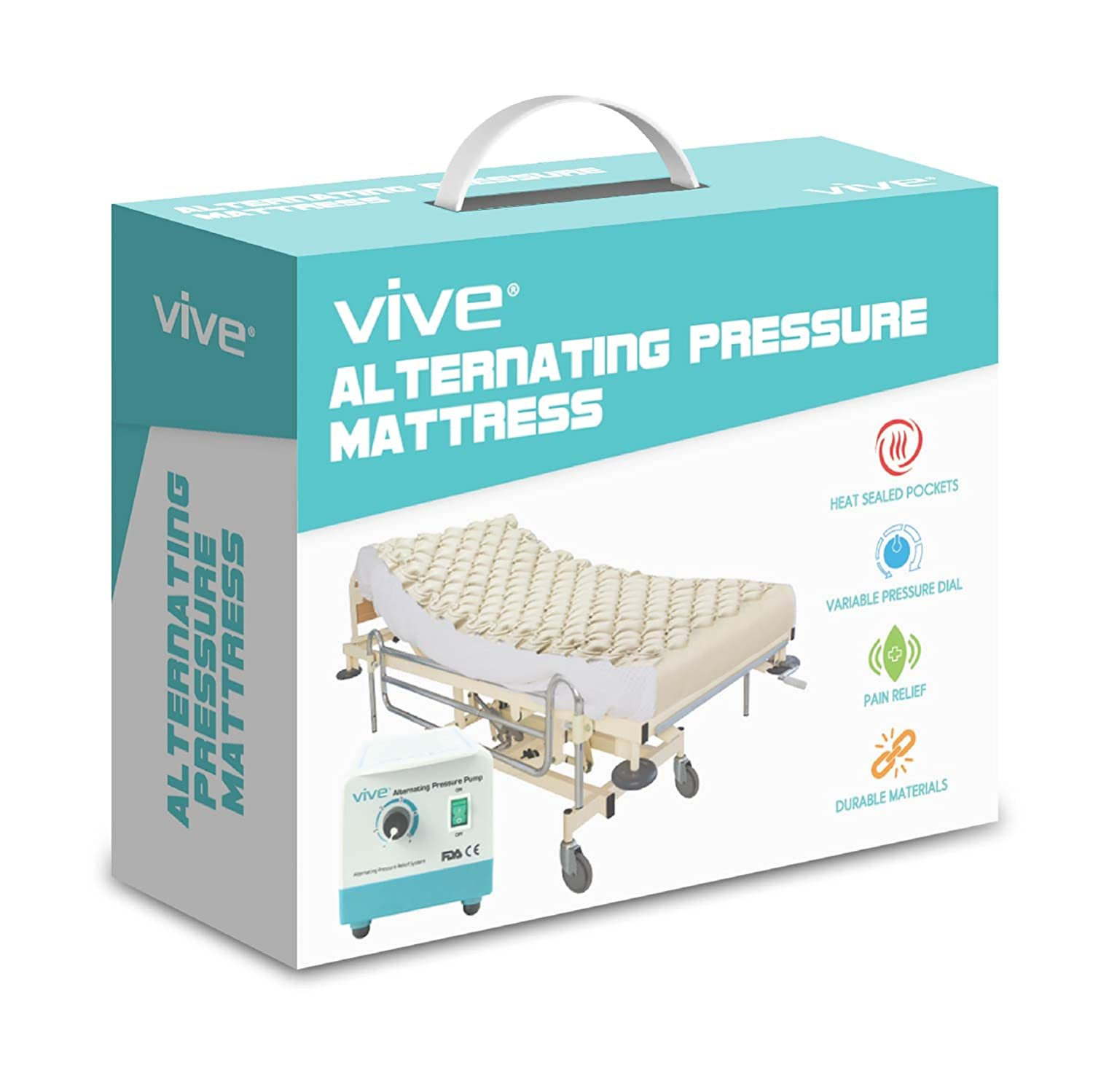amazoncom alternating pressure mattress by vive includes electric pump u0026 mattress pad inflatable bed pad for pressure ulcer and pressure sore