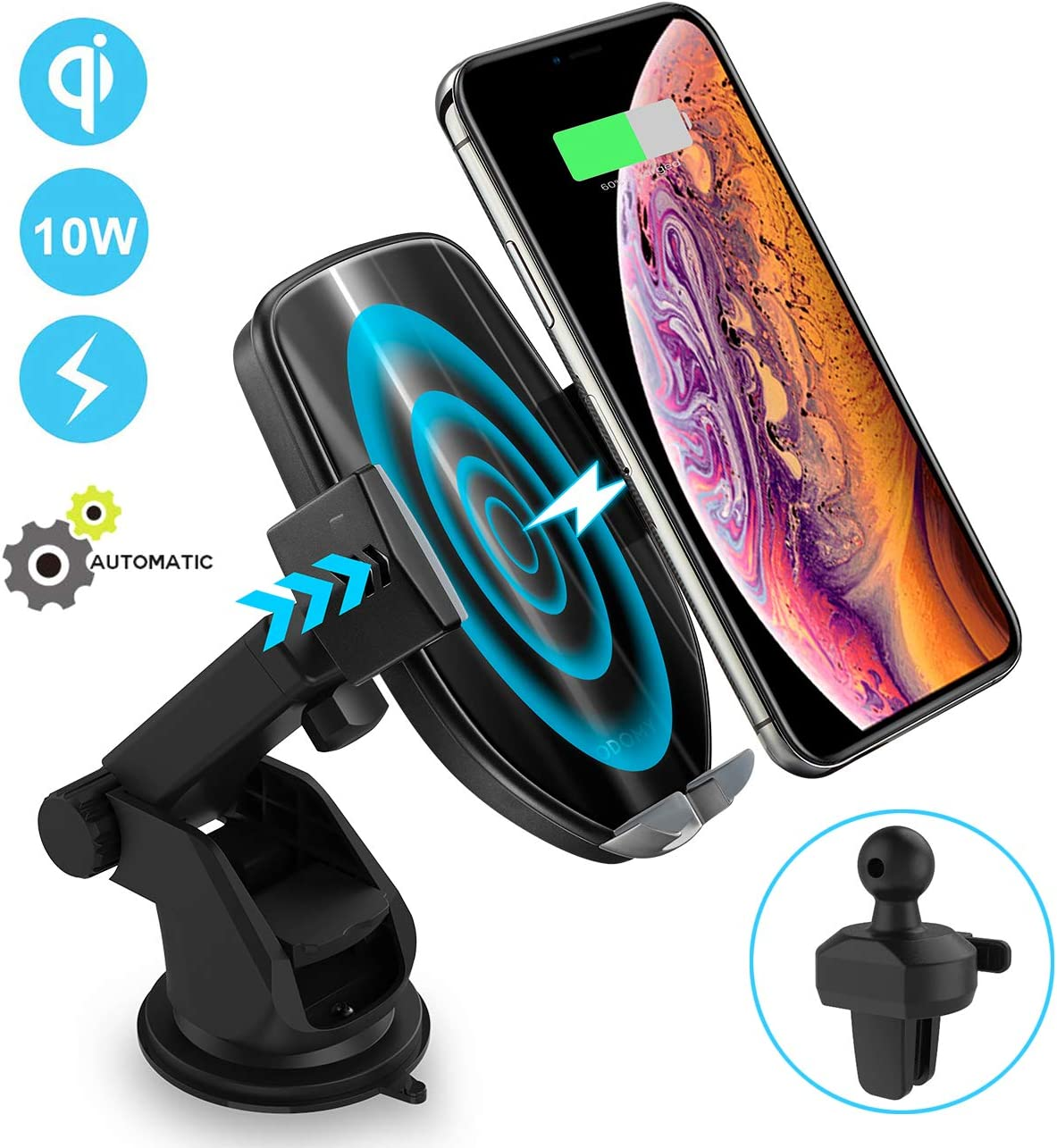 ODOMY Wireless Car Charger Mount, Auto Clamping 10W Fast Charging Qi Car Phone Holder Air Vent Dashboard Compatible with iPhone XsMaxXXR88