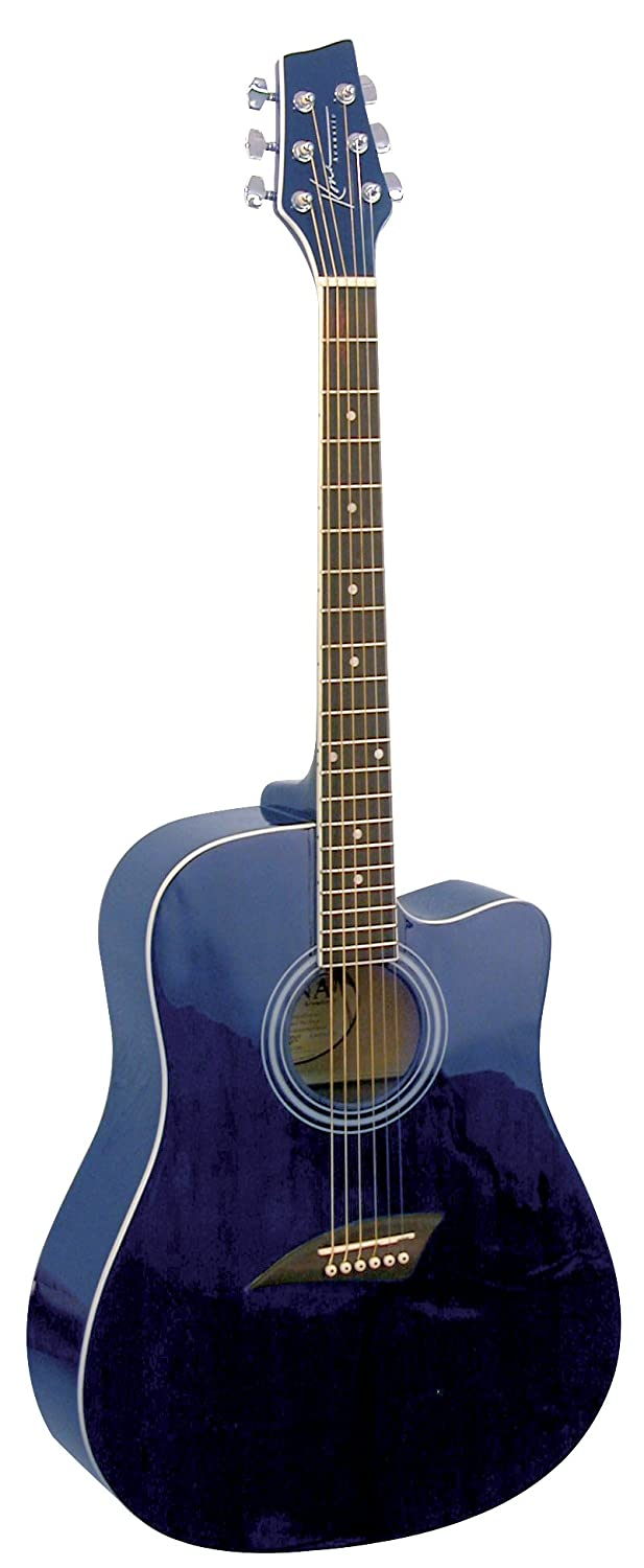 Kona Guitars K1TBL Acoustic Dreadnought Cutaway Guitar in Transparent Blue Finish