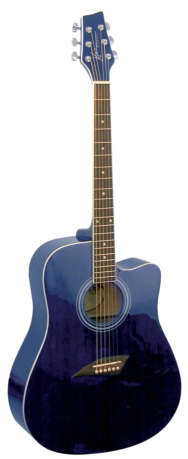Kona K1TBL Acoustic Dreadnought Cutaway Guitar in Transparent Blue Finish