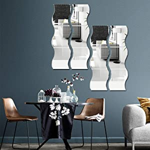 12PCS Wavy Mirror Wall Stickers, 3D Mirror Art DIY Home Decorative Acrylic Mirror Wall Sheet Plastic Mirror Tiles for Home Living Room Bedroom Sofa TV Setting Wall Decoration Decor Decal (Silver)