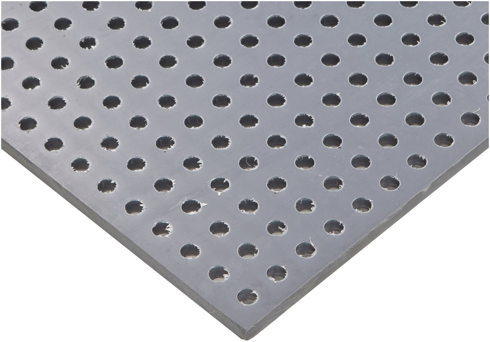 PVC (Polyvinyl Chloride) Perforated Sheet, Staggered Holes, Opaque Gray, 0.250'' Thickness, 32'' Width, 48'' Length, Staggered 1/4'' Holes, 0.5'' Center to Center