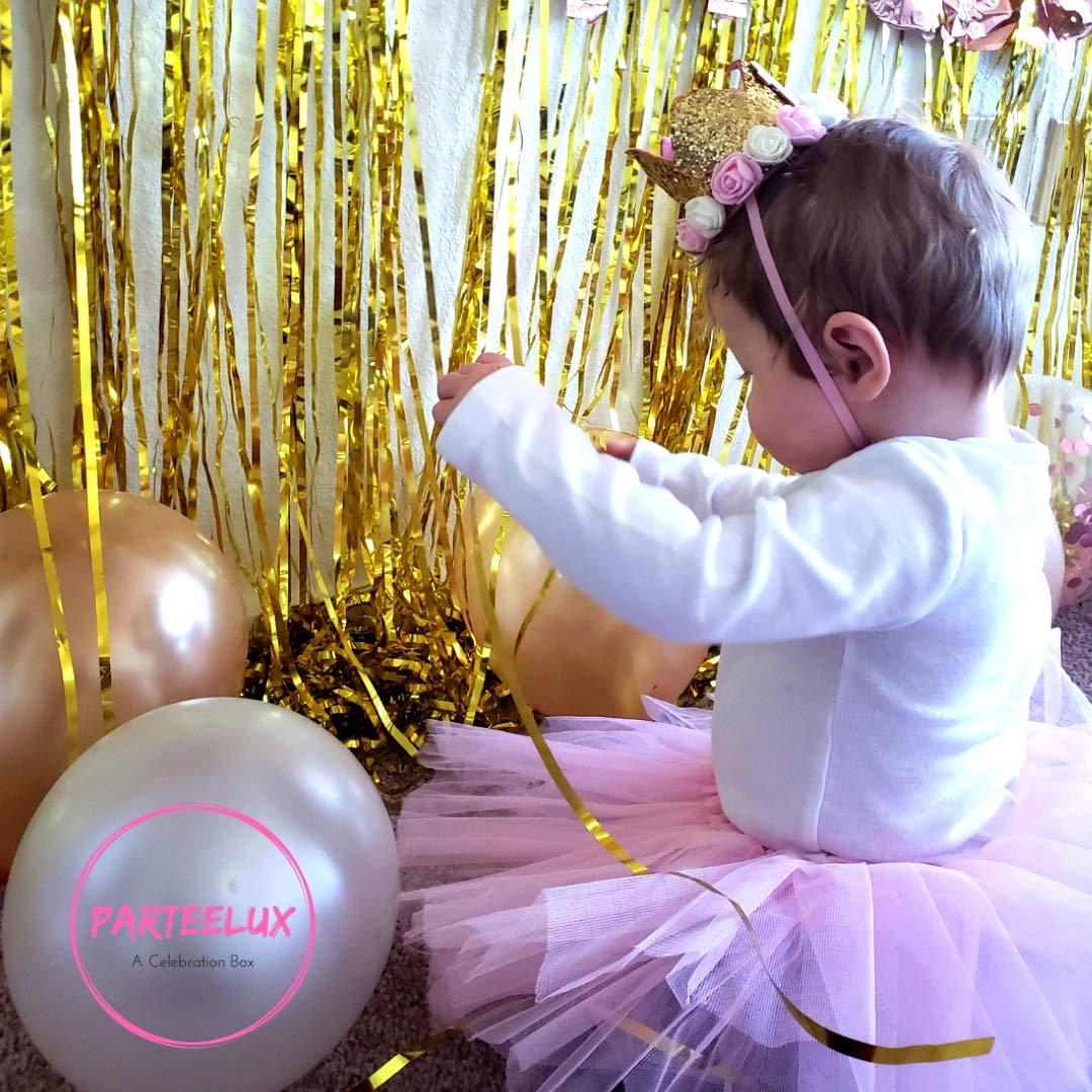 Assorted Colors Latex Balloons 46Piece Value Pack Party Supplies Bundle for Cute Kids Ideal Gift Idea 1st Birthday Decorations for Girl Pink White Silver Gold Theme Tiara Hat One Cake Topper