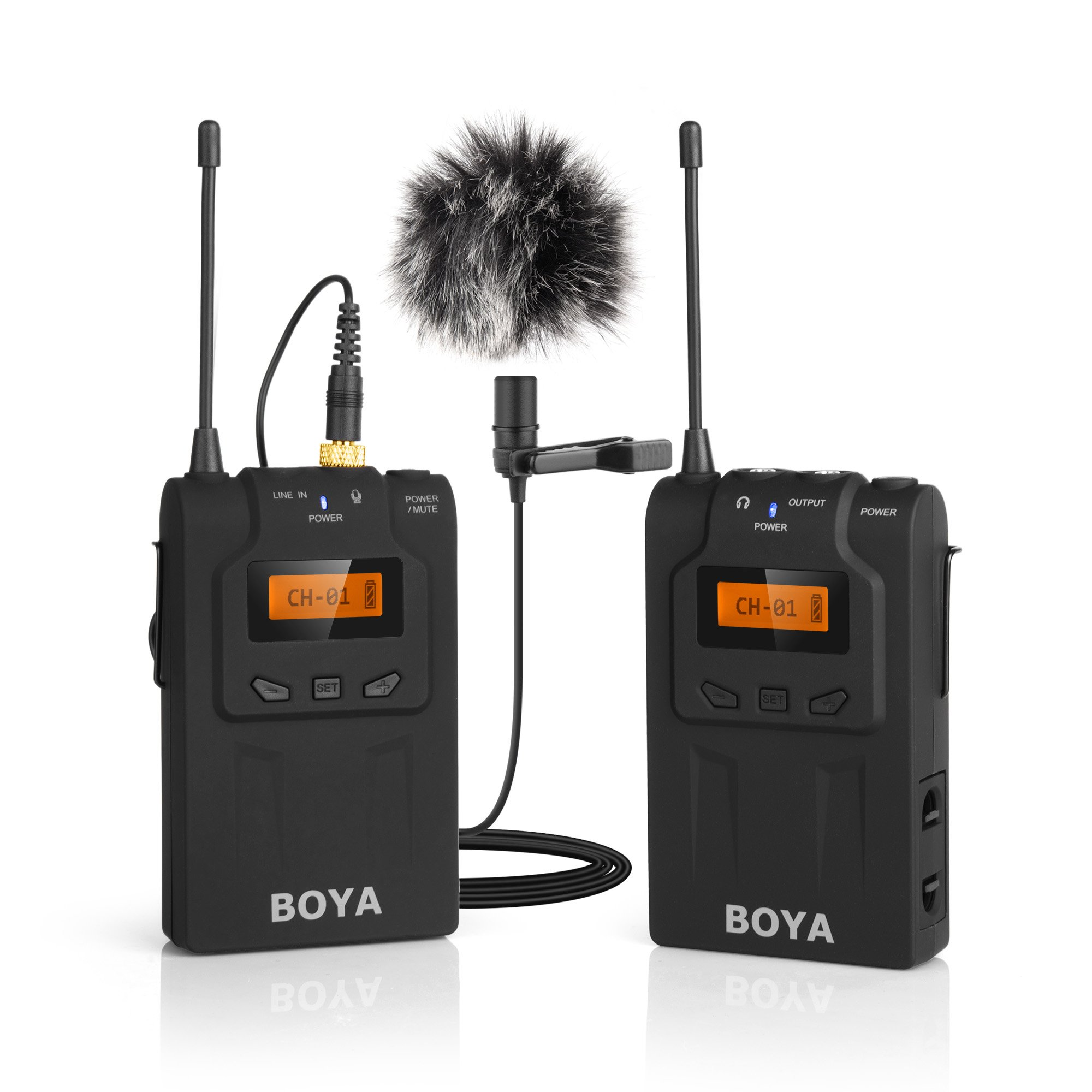 BOYA BY-WM6 UHF Professional Wireless Omnidirectional Lavalier Lapel Microphone System with 48 Optional Channels for Canon Sony Nikon Panasonic DSLR ENG EFP DV Video Camera by BOYA