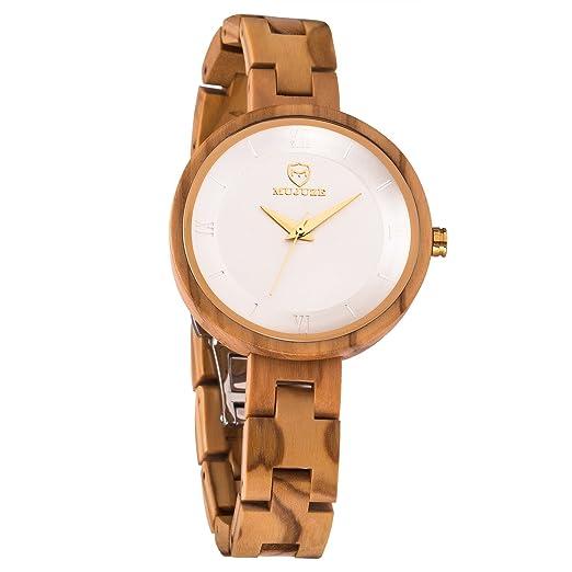 Madera Relojes de Pulsera para Mujer,MUJUZE Mujer Relojes con Movimiento de Cuarzo de Japón de Madera de Olivo Natural,Regalos Mujer: Amazon.es: Relojes