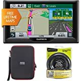 "Garmin nuvi 67LM 6"" 010-01399-01 Essential Series 2015 GPS w Lifetime Maps Portable Friction Mount and PocketPro XL Hardshell Case Bundle"