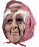 BM432 Old woman rubber mask adult with headscarf